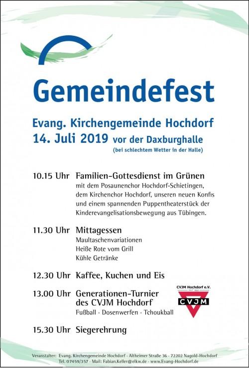 2019 Plakat Gemeindefest